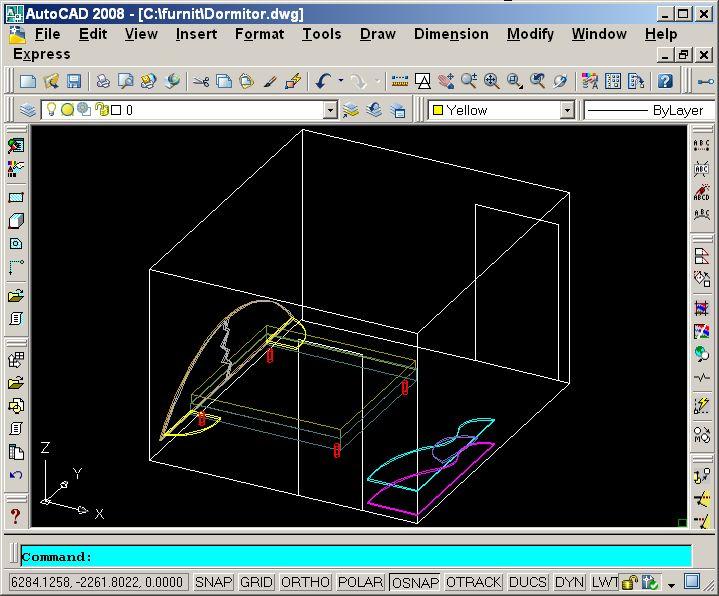 Bedroom furniture. Design of furniture in AutoCAD