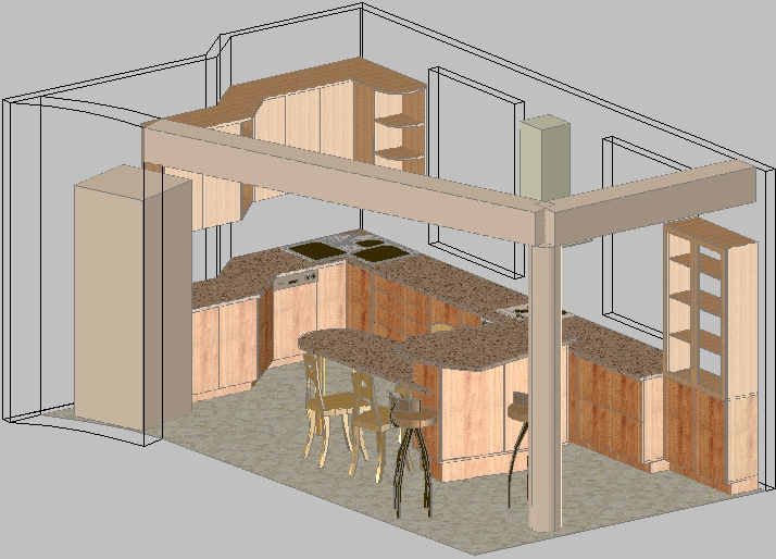 Kitchen furniture   example 2. Design of furniture in AutoCAD